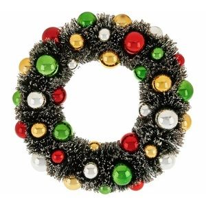 "QVC Holiday - 12"" Bottlebrush Wreath W/ Ornaments and Glittered"